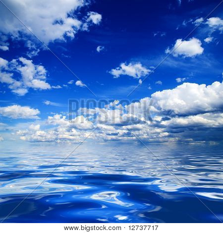 blue sky and rendered water