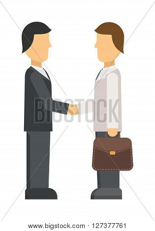 Interview panel listening to applicant in office business job people young occupation employee vector character. Interview recruitment procedure in corporation office. Interview people meeting.