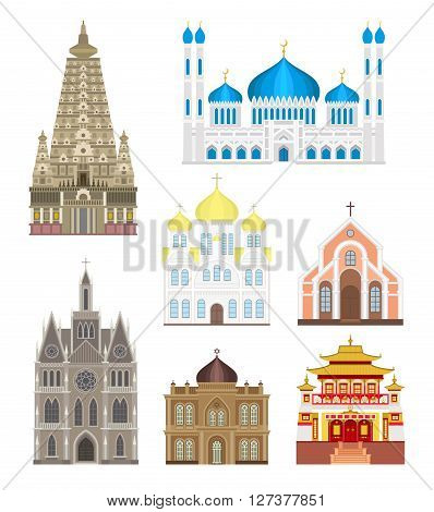 Cathedrals and churches infographic temple buildings set architecture asia landmark tourism vector. Collection of temple buildings world religions. Cathedrals and churches temple buildings set.