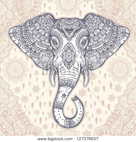 Beautiful Bohemian elephant paisley seamless ornament. Folk seamless pattern. Oriental inspiration. Vintage vector ornamental elephant Indian ethnic seamless pattern with tribal ornaments.