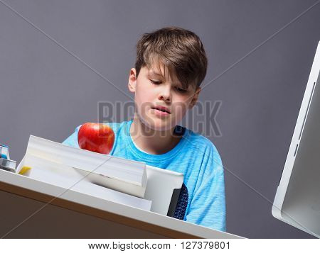 Young boy doing his homework with a computer