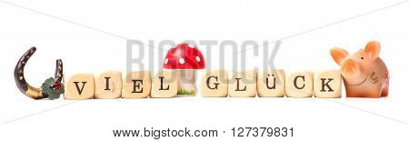 German luck concept with a cute pig and a horse shoe, wooden dices with the words