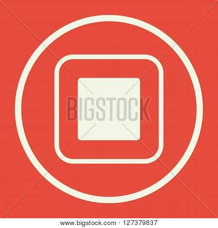 Music Stop Icon In Vector Format. Premium Quality Music Stop. Web Graphic Music Stop Sign On Red Bac