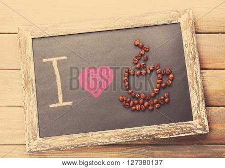 I love coffee written on chalkboard. Retro style