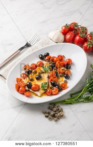 swordfish with tomatoes capers and olive