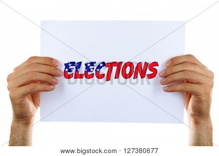 Hands holding card with Elections text isolated on white
