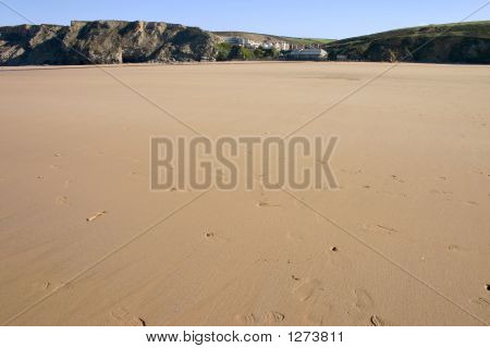The Huge Beach At Low Tide, Watergate Bay, Cornwall, Uk