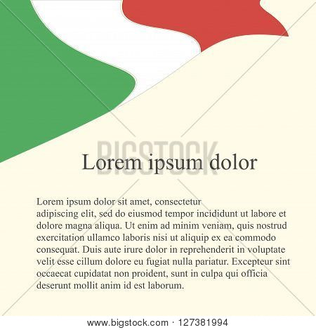 Italian flag background. Green, white, red flag on light pink background, grey Lorem ipsum, vector