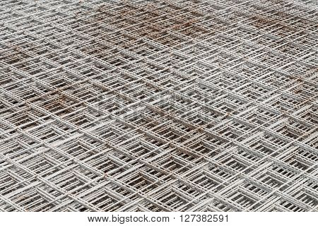 Stacked Rebar Grids At The Construction Site