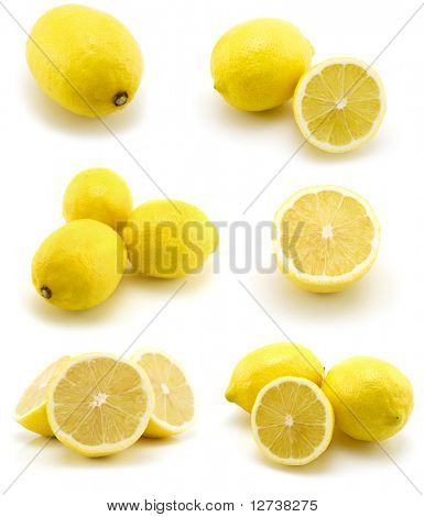 page of lemons isolated on the white