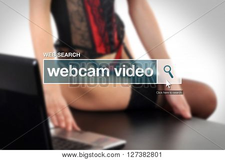 Web search bar glossary term - webcam porn video definition in internet glossary.