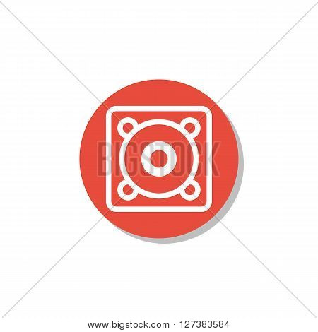 Speaker Icon In Vector Format. Premium Quality Speaker Symbol. Web Graphic Speaker Sign On Red Circl