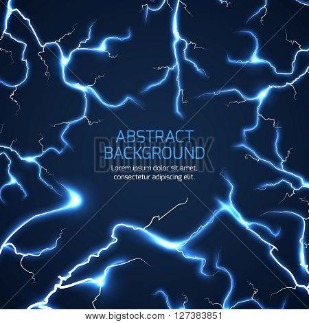 Lightning vector background. Bright lightning electricity pattern, electrician charge lightning vector illustration with text
