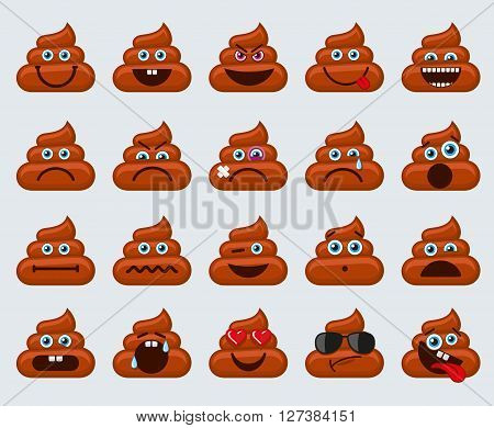 Poop emoticons smileys vector collection. Dirty emotions or poop emotions vector signs