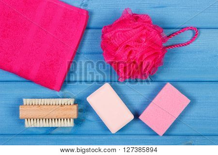 Cosmetics and accessories for personal hygiene in bathroom soap towel bath puff brush pumice concept of body care