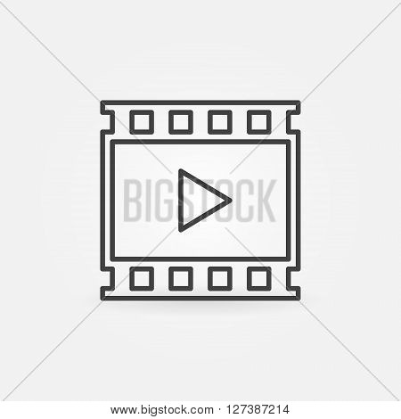Video linear icon - vector concept film or video symbol in thin line style made with film strip and player sign