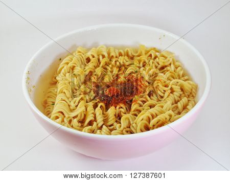 instant noodle soft boiled in bowl on white background