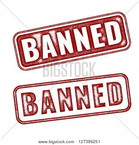 Set of red realistic vector Banned grunge rubber stamp isolated on white background.