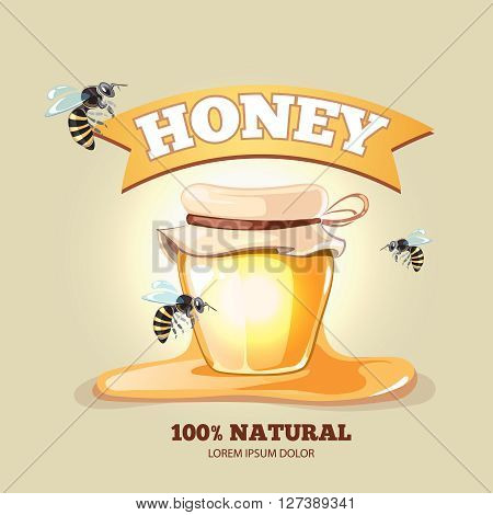 Honey emblem for fresh organic natural premium quality honey. Logotype with honey pot and bees