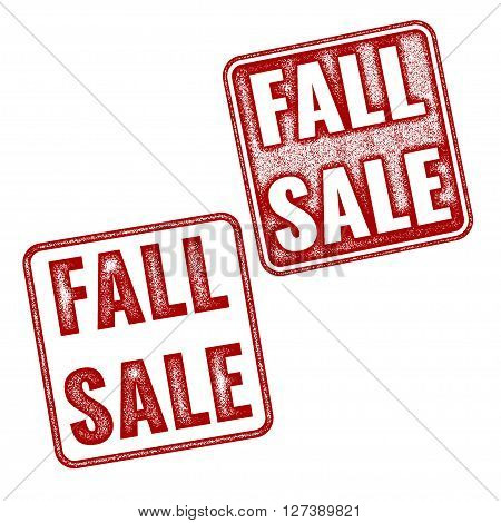 Two red realistic vector Fall Sale stamps isolated on white background. Set of red imprints announces about annual fair sale