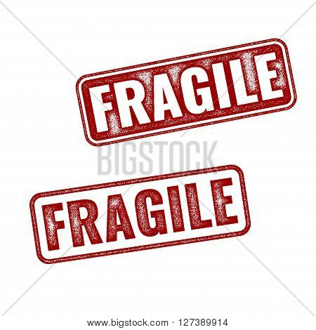 Realistic vector grunge rubber stamp Fragile isolated on white background