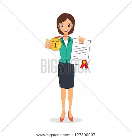 Businesswoman winner, success concept. Excited smiling female in business suit showing golden medal and certificate. Cartoon character vector isolated on white background