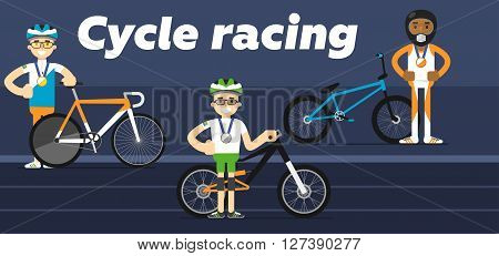 Cycling team award with gold, silver and bronze medal flat vector illustration. The sport.