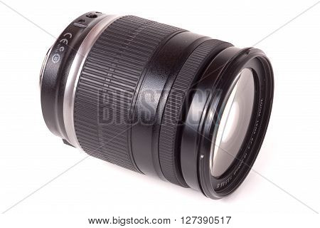 camera lens isolated on a white background closeup.