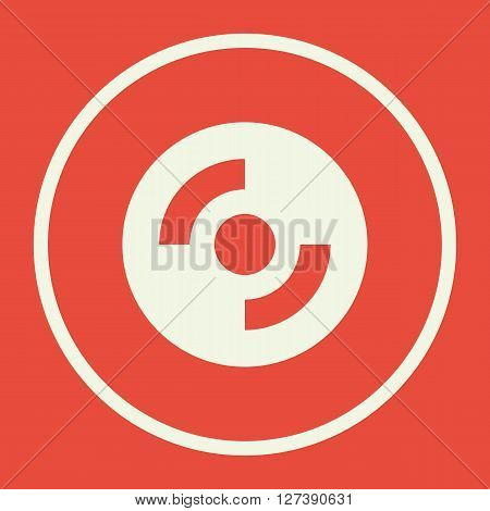 Cd-rom Icon In Vector Format. Premium Quality Cd-rom Symbol. Web Graphic Cd-rom Sign On Red Backgrou
