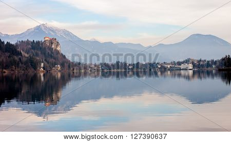 view on Lake Bled with castle above in the Spring