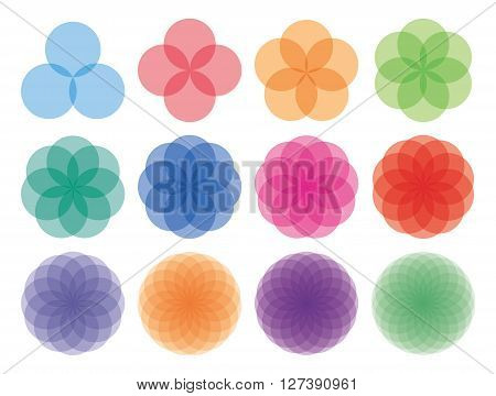 Geometric, ornaments, set, with, circles, and, squares., Abstract, creative, flowers, snowflakes., Multicolored, on, white., Vector
