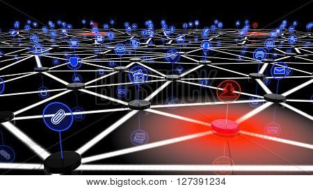 Network of internet of things attacked by hackers on one node a 3D illustration showing black podests with symbols that are interconnected and three red platforms with hacker symbols emitting a red virus