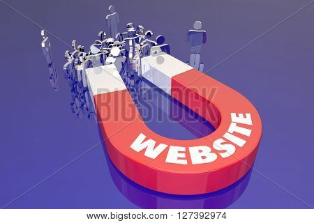 Website Magnet Word Pulling Attracting Audience Visitors Customers