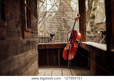 Cello Leaning On A Porch