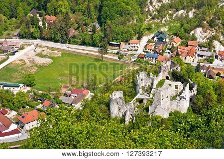 Samobor fortress ruins and landscape aerial view northern Croatia