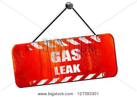 Gas leak, 3D rendering, red grunge vintage sign