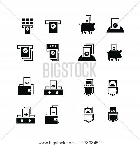 Piggy Bank And Money In Wallet  Icons