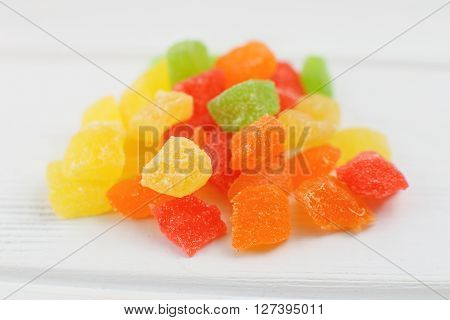 Candied Fruit Group On White Background