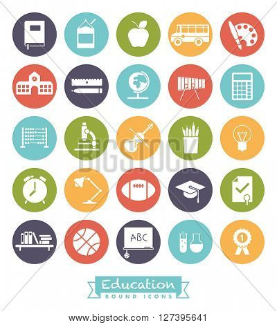 education and school round colored vector icons collection