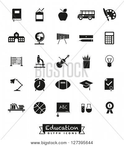 School and education vector glyph icons set