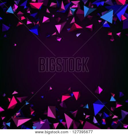 Purple abstract background with 3d figures. Vector illustration.