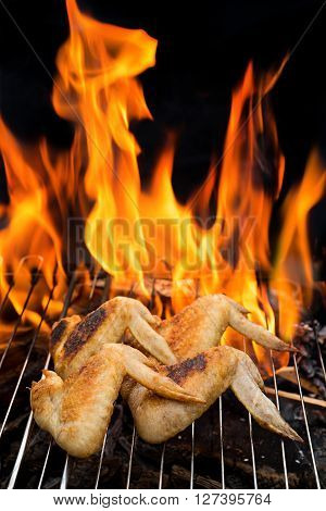 grill concept, four grilling chicken wings on barbecue grill  with fire on background. Selective focus