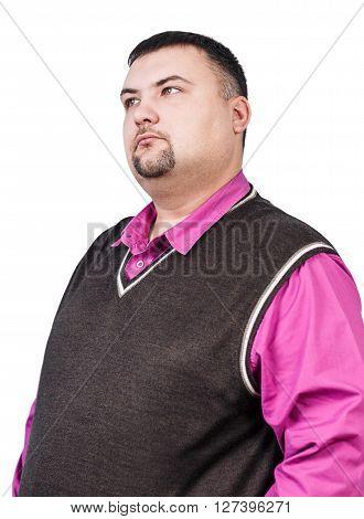 Thoughtful plump businessman isolated on white background
