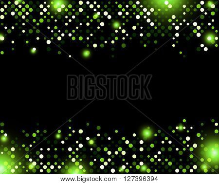 Black abstract background with green dots. Vector illustration.