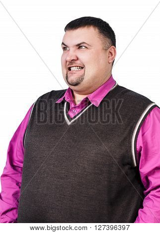 Plump businessman with angry grimace isolated on white