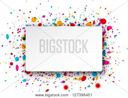 Paper rectangular white background with color confetti. Vector illustration.