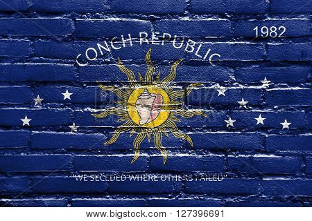 Flag Of The Conch Republic (key West, Florida), Painted On Brick Wall