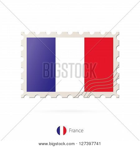 Postage Stamp With The Image Of France Flag.