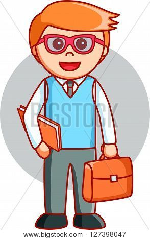 Lecturer man cartoon .EPS10 editable vector illustration design
