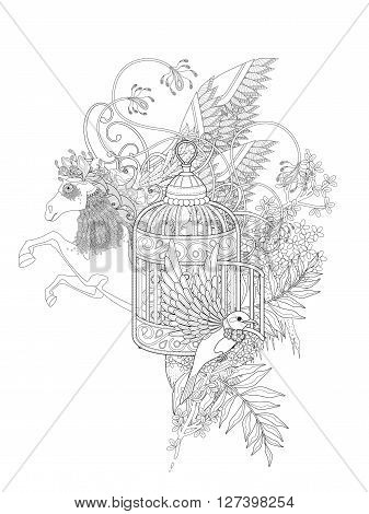 fantastic bird and pegasus adult coloring page with floral elements